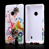 Autumn Floral Burst on White Rubberized Hard Case for Nokia Lumia 521