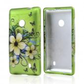 White Hawaiian Flowers on Green Rubberized Hard Case for Nokia Lumia 521