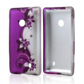 Black Vines on Purple/Silver Rubberized Hard Case for Nokia Lumia 521