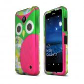 Hot Pink/ Green Owl Nokia Lumia 635 Matte Rubberized Hard Case Cover; Perfect fit as Best Coolest Design Plastic cases