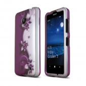 Purple Vines on Silver Nokia Lumia 635 Matte Rubberized Hard Case Cover; Perfect fit as Best Coolest Design Plastic cases