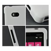 White Rubberized Hard Case for Nokia Lumia 810