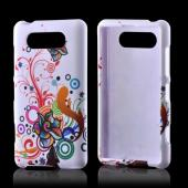 Rainbow Autumn Flowers on White Rubberized Hard Case for Nokia Lumia 820