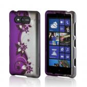 Black Vines on Purple/ Silver Rubberized Hard Case for Nokia Lumia 820