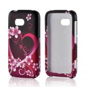 Hot Pink/ Purple Flowers & Heart Rubberized Hard Case for Nokia Lumia 822
