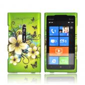 Nokia Lumia 900 Rubberized Hard Case - White Hawaiian Flowers on Green
