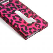 Black Leopard on Hot Pink Rubberized Hard Case for Nokia Lumia 928