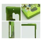 White Hawaiian Flowers on Green Rubberized Hard Case for Nokia Lumia 928