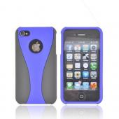 AT&T/ Verizon Apple iPhone 4, iPhone 4S Rubberized Hard Case - Blue/ Black