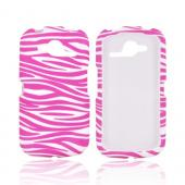 Pantech Burst 9070 Rubberized Hard Case - Baby Pink/ White Zebra