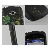 Blue/ Green/ Yellow Flowers on Black Rubberized Hard Case for Pantech Burst 9070