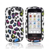 Pantech Hotshot Rubberized Hard Case - Rainbow Leopard on Silver