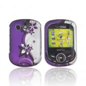 Pantech Jest 2 Rubberized Hard Case - Purple Flowers/ Vines on Silver