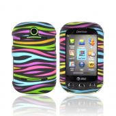 Pantech Pursuit 2 P6010 Rubberized Hard Case - Rainbow Zebra on Black
