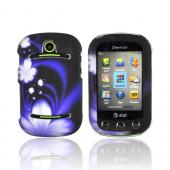 Pantech Pursuit 2 P6010 Rubberized Hard Case - White Flowers on Purple/ Black