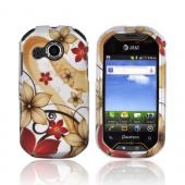 Pantech Crossover P8000 Rubberized Hard Case - Red/ Gold Flowers on Silver