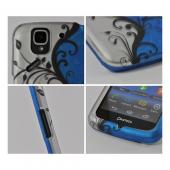 Black Vines on Blue/ Silver Rubberized Hard Case for Pantech Flex