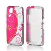 Hot Pink/ Silver Flowers & Vines Rubberized Hard Case for Pantech Flex