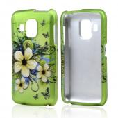 White Hawaiian Flowers on Green Rubberized Hard Case for Pantech Perception