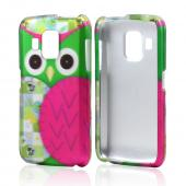 Hot Pink/ Green Owl Rubberized Hard Case for Pantech Perception