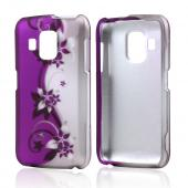 Black Vines on Purple/Silver Rubberized Hard Case for Pantech Perception