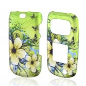 White Hawaiian Flowers on Green Rubberized Hard Case for Samsung Rugby 3