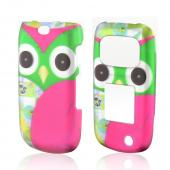 Hot Pink/ Green Owl Rubberized Hard Case for Samsung Rugby 3