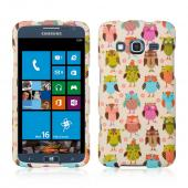 Retro Owls on Cream Rubberized Hard Case for Samsung ATIV S Neo