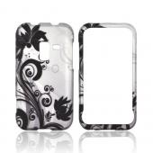 Samsung Conquer 4G Rubberized Hard Case - Black Flowers & Vines on Silver