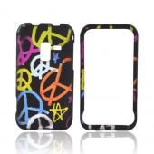 Samsung Conquer 4G Rubberized Hard Case - Rainbow Peace Signs on Black