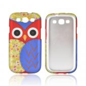 Samsung Galaxy S3 Rubberized Hard Case - Red/ Blue Owl Design