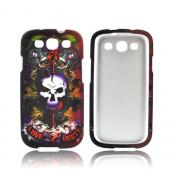 Samsung Galaxy S3 Rubberized Hard Case - Purple/ Red Skull & Lion