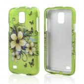 White Hawaiian Flowers on Green Rubberized Hard Case for Samsung Galaxy S4 Active