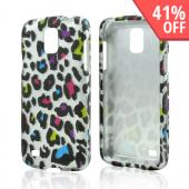 Rainbow Leopard on Silver Rubberized Hard Case for Samsung Galaxy S4 Active
