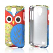 Blue/ Gold Owl Rubberized Hard Case for Samsung Galaxy S4