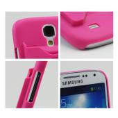 Hot Pink Rubberized Hard Case w/ ID Slot for Samsung Galaxy S4