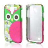 Hot Pink/ Green Owl Rubberized Hard Case for Samsung Galaxy S4
