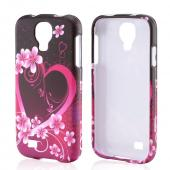 Hot Pink/ Purple Flowers & Hearts Rubberized Hard Case for Samsung Galaxy S4