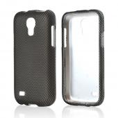Black/ Grey Carbon Fiber Design Rubberized Hard Case for Samsung Galaxy S4 Mini