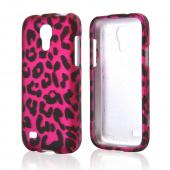 Black Leopard on Hot Pink Rubberized Hard Case for Samsung Galaxy S4 Mini