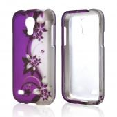 Purple Vines on Silver/ Purple Rubberized Hard Case for Samsung Galaxy S4 Mini