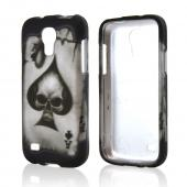 Ace Spade Skull on Black Rubberized Hard Case for Samsung Galaxy S4 Mini