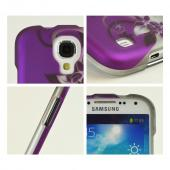 Black Vines on Purple/Silver Rubberized Hard Case for Samsung Galaxy S4