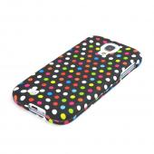 Rainbow Polka Dots on Black Rubberized Hard Case for Samsung Galaxy S4