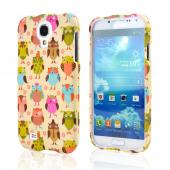 Retro Owls on Cream Rubberized Hard Case for Samsung Galaxy S4