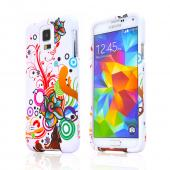 Autumn Floral Burst on White Rubberized Hard Plastic Case for Samsung Galaxy S5