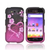 Samsung Galaxy S Blaze 4G Rubberized Hard Case - Hot Pink/ Purple Flowers & Heart