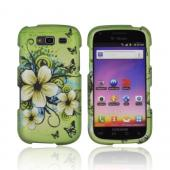Samsung Galaxy S Blaze 4G Rubberized Hard Case - White Hawaiian Flowers on Green