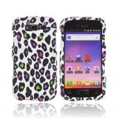 Samsung Galaxy S Blaze 4G Rubberized Hard Case - Rainbow Leopard on White