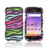 Samsung Galaxy S Blaze 4G Rubberized Hard Case - Rainbow Zebra on Black